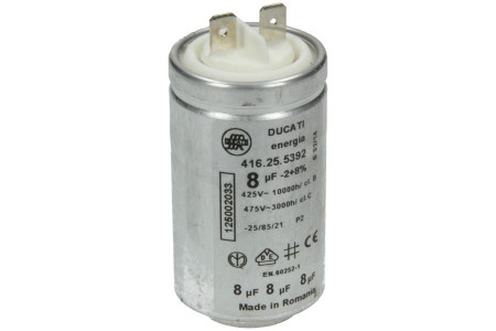 Kondensator 8,00µF mit Steckfahnen für Trockner 1250020334