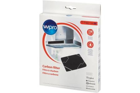 WPRO Aktivkohlefilter (220 x 180 x 20 mm) für Dunstabzugshauben 484000008571, CWF020/1, DKF43